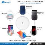 Promoción de la caliente Qi 10W Celular inalámbrica rápida Soporte de carga/adaptador/pad/estación/cargador para iPhone/Samsung/Huawei/Xiaomi