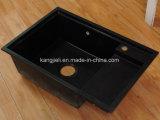 Het het zwarte Kunstmatige Marmer van de Kleur/Bassin van het Kwarts met Enige Kom voor Keuken en Badkamers