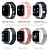 Fitness Step Counting Heart Rate Waterproof Metal Shell Sports Smart Watch, siliconen riem, Milan Steel Belt