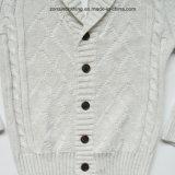折りえりおよびカーディガンによって編まれる子供のセーターの衣服