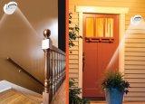 壁、表、ドア、階段、洗面所、ガレージのための4AAによって動力を与えられるヘッド旋回装置7 LEDの動きセンサーランプ