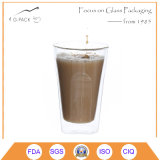 Taza de cristal de la pared doble para el café
