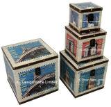 S/4装飾の骨董品型アメリカのマップデザイン正方形の印刷PU Leather/MDFの木の記憶のトランクボックス