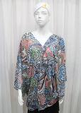 Леди мода пэйсли напечатано полиэстер шифон шелк пружины футболка (YKY2216)