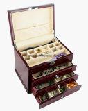 Отлакированная коробка подарка хранения ювелирных изделий Fniish рояля Rosewood деревянная с 3 ящиками