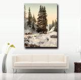 Paysage normal peignant la peinture à l'huile chinoise d'horizontal de nature de l'hiver sur la toile