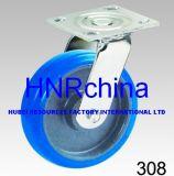 Blauer elastischer Gummischwenker-industrielle Fußrolle