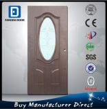 Rustic Wood Look Décoré Arch Toughened Glass Entry Porte en acier