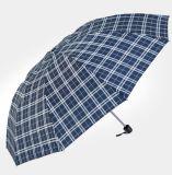 """21 """" 8k 격자 무늬가 우산 Bussiness 3 접히는 자동차 열리는 접히는 우산을 접는다"""
