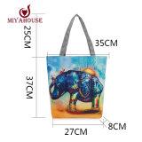 Elefant druckte Segeltuchtote-Frauen-beiläufiger Strand-Beutel-täglicher Gebrauch-weibliche einzelne Schulter-Beutel für Einkaufen-beiläufige Segeltuch-Handtaschen