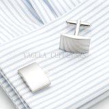 Pulido de la moda VAGULA Plaza chapado en plata de manguito de enlace 703