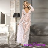 L'appui Facoty Dentelle blanc manche longue robe de vêtements de nuit