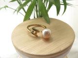 anello aperto registrabile placcato della perla dentellare di doratura elettrolitica 18K per le donne