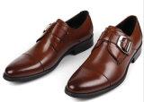 Monje hebilla de color marrón oscuro de la correa de cuero de vaca Mens zapatos formales