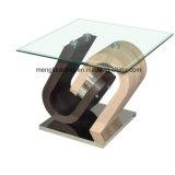 Mesa de centro de cristal de madera con los cajones