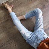 Nieuwe Blauw van de Manier Gebroken Wassende Dame Jeans met Speciaal Ontwerp (HDLJ0030-17)