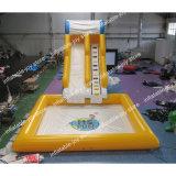 6*3*4m 6*6mのプール、コマーシャルが付いている膨脹可能な水スライドは膨脹可能なスライドの警備員、子供のスライドを使用した