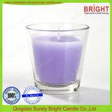 Vidrio de color púrpura velas aromáticas con tapa