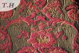 Fournisseur rouge de tissu de jacquard de Chenille (FTH31178)