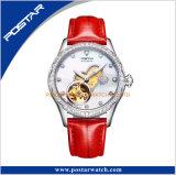 Roestvrij staal van de Vatting van de Diamant van de manier het Automatische Robijnrode Dame Wristwatch