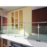 El soporte montó la barandilla de cristal barata con diseño modificado para requisitos particulares