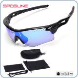 Deportes Negro-Rojos irrompibles de los hombres de las gafas de sol del roble de la lente de la capa reflejada con la insignia del cliente