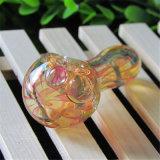 Tubulação de vidro da colher da tubulação de vidro colorida de vidro de vidro da mão do tabaco da listra da tubulação de água da tubulação