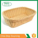 Cestino del pane d'imitazione del rattan di rettangolo, cestini del servizio dell'alimento, cestini di Diplay per le verdure dell'alimento della frutta