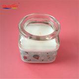 Vela clara del tarro del vidrio de leche de la etiqueta engomada del modelo de la taza para el regalo