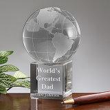 Bola de cristal grabado de alta calidad con el mapa del mundo para piezas centrales de escritorio