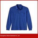 Camisas de polo longas unisex da luva do algodão verde barato das vendas por atacado (P49)