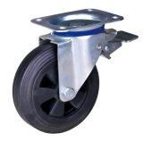 China-preiswerte Gummirad-Schwenker-Fußrolle mit Bremse