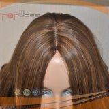Peluca del cordón del trabajo de la tapa de la piel del pelo humano (PPG-l-01681)
