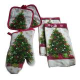 La toalla de cocina de la Navidad fijó 5 pedazos de la materia textil de la cocina
