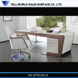 Tabelle di superficie solide acriliche trasformate Z bianche di lusso del gestore di disegno della scrivania del CEO di figura del Rocket