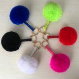 Фо кролик мех шаровой цепочки ключей сумку с Парижем Poms шаровой цепочки ключей