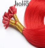 実質の人間の毛髪赤いカラーは14インチ人間の毛髪をUひっくり返す