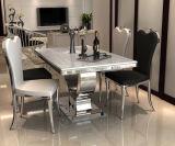 現代ステンレス鋼愛クロムベース大理石の食堂セット