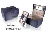 Caja de Múltiples Funciones Portable de la PU de Joyería de Cuero con Mango