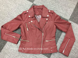 Куртка Bike повелительниц PU кожи красного цвета