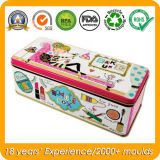 Los cosméticos rectangular Tin Box Contenedor de estaño metálico de maquillaje