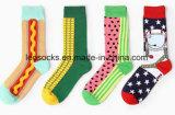 Glückliche Socken mit bunte Muster-kundenspezifischen Firmenzeichen-Mann-Socken
