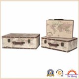 Ensemble de 3 Vintage Beige World Map Print Suitcase Jewelry Box