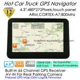 """공장 최신 판매 4.3 """" 팔 외피 A7, 800MHz CPU를 가진 휴대용 에서 대시 차 GPS 항해자, 사전 로드 Igo 지도; FM 전송기; 핸즈프리 Bluetooth; ISDB T 텔레비젼"""