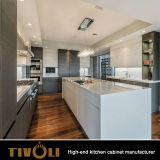 De moderne Eenvoudige Aangepaste Ontwerpen van de Keuken lakken Houten Keukenkasten met Eiland tivo-0017V