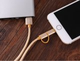 O metal de nylon trançou 2 em 1 Android para cabo cobrando do USB dos dados de Samsung o micro