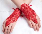 カスタム方法花嫁の手袋と結婚する白く赤いレースの不足分