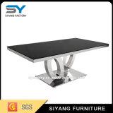 フランス様式の家具の黒のガラスコンソールテーブル