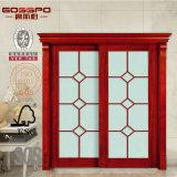 Puerta de madera de la entrada del vidrio de desplazamiento de la sala de estar de la madera doble de la entrada (GSP3-019)