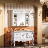 Gabinete de banho de sanitários de madeira sólida de pintura moderna (GSP14-009)